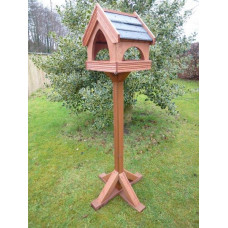 * Premier Range* Birch Plywood SLATE COUNTRY COTTAGE (strips of slate roof) Bird table, Standard size (with stand)
